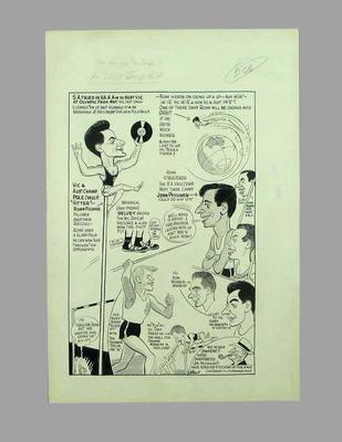 Cartoon, Victoria v South Australia athletics competition c1960s
