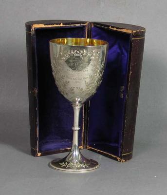 Silver cup, presented to John McCarthy Blackham - Victoria v NSW, 1879