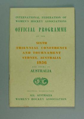 Programme, International Federation of Women's Hockey Associations Conference & Tour 1956