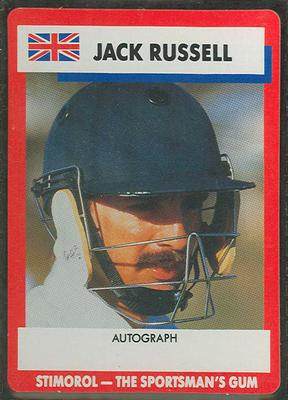 1990 Stimorol Cricket Stumpers Competition Jack Russell trade card