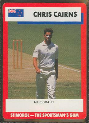 1990 Stimorol Cricket Stumpers Competition Chris Cairns trade card