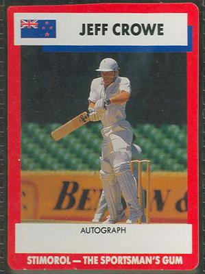 1990 Stimorol Cricket Stumpers Competition Jeff Crowe trade card