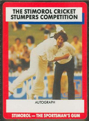 1990 Stimorol Cricket Stumpers Competition Max Walker trade card
