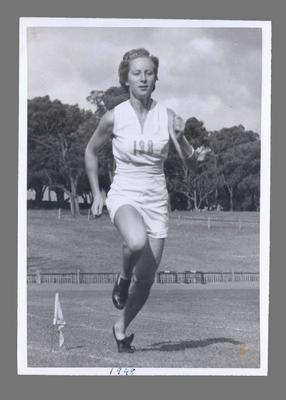 Photograph of Shirley Strickland jogging, undated