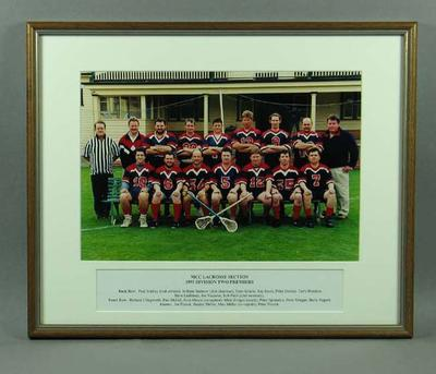 Photograph of MCC Lacrosse Section, Division Two Premiers 1999