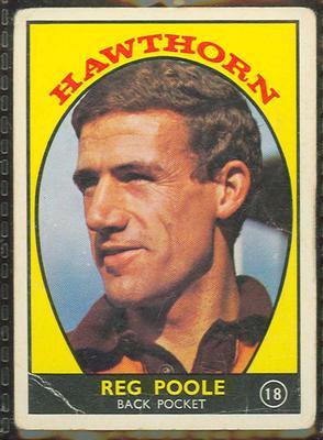 1968 Scanlen's Gum Australian Football - Series A, Reg Poole trade card