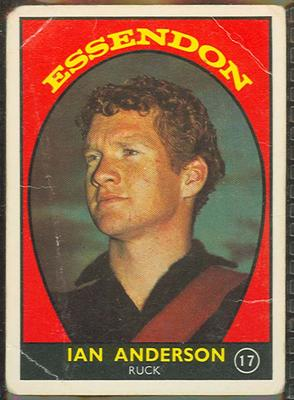 1968 Scanlen's Gum Australian Football - Series A, Ian Anderson trade card