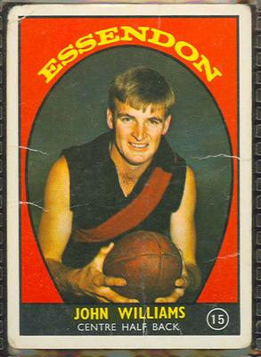 1968 Scanlen's Gum Australian Football - Series A, John Williams trade card