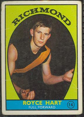 1968 Scanlen's Gum Australian Football - Series A, Royce Hart trade card