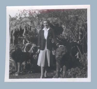 Photograph of Shirley Strickland wearing 1948 Olympic blazer, New Zealand 1950