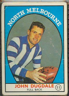 1968 Scanlen's Gum Australian Football - Series A, John Dugdale trade card