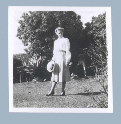 Photograph of Shirley Strickland modelling Australian Olympic Games uniform, 1948