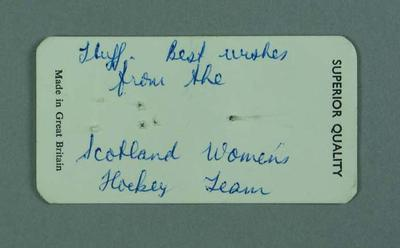 Card, from Scotland women's hockey team c1970s-80s