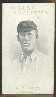 1911 W D & H O Wills Australian and English Cricketers A C Facey trade card; Documents and books; M11865.3