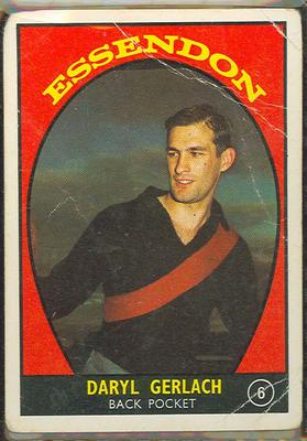 1968 Scanlen's Gum Australian Football - Series A, Daryl Gerlach trade card