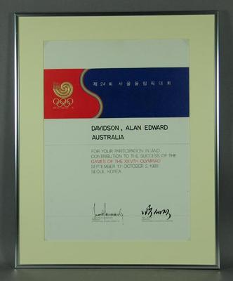 Participant's Certificate - Seoul Olympic Organising Committee 1988 - Alan Davidson