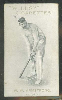 1911 W D & H O Wills Australian and English Cricketers W W Armstrong trade card