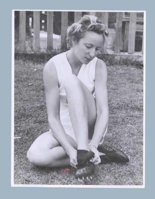 Photograph of Shirley Strickland in athletic attire, c1948