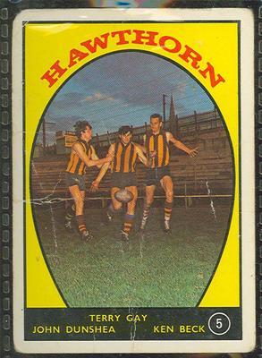 1968 Scanlen's Gum Australian Football - Series A, Hawthorn FC trade card