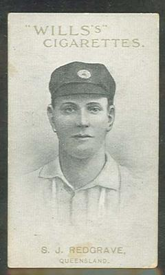 1911 W D & H O Wills Australian and English Cricketers S J Redgrave trade card