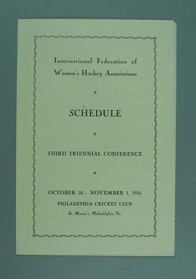 Schedule, International Federation of Women's Hockey Associations conference 1936