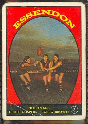 1968 Scanlen's Gum Australian Football - Series A, Essendon FC trade card