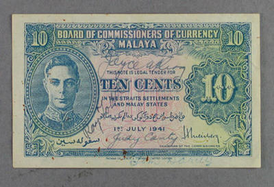 Banknote, signed by Australian Olympians 1948