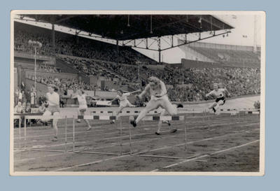 Photograph of Shirley Strickland competing in track event, c1948