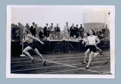 Photograph of Shirley Strickland competing in track event,  London 1948