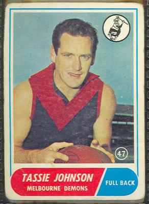 1969 Scanlen's Gum Australian Football, Tassie Johnson trade card