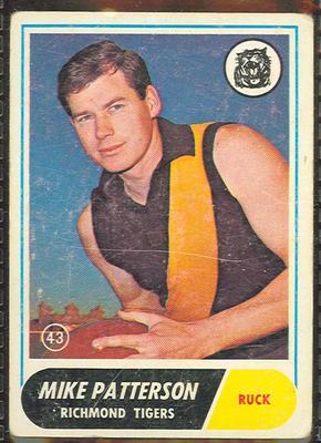 1969 Scanlen's Gum Australian Football, Mike Patterson trade card
