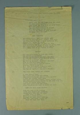 Song sheet, Australian women's hockey team USA tour 1936