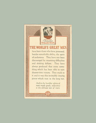 1947 Stamina Clothing Co The World's Great Men trade card