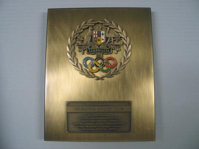 Plaque presented to Melbourne Cricket Club, Prime Minister's Olympic Dinner 2004