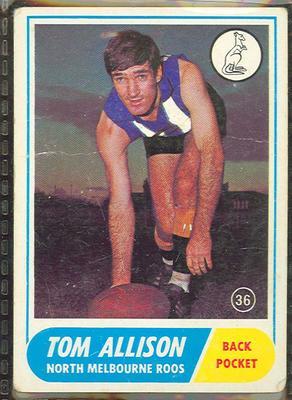 1969 Scanlen's Gum Australian Football, Tom Allison trade card