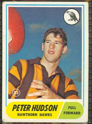 1969 Scanlen's Gum Australian Football, Peter Hudson trade card; Documents and books; 1987.1811.130