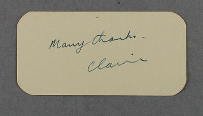 """Small card with inscription, """"Many thanks, Claire"""""""