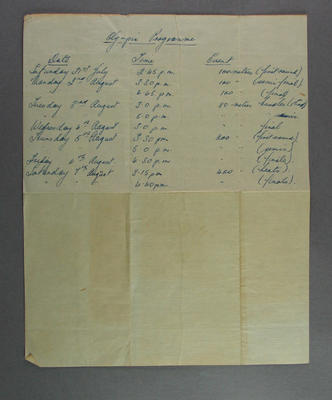 Shirley Strickland's handwritten programme of her events, 1948 Olympic Games