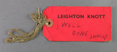 Luggage tag, used by Shirley Strickland c1948
