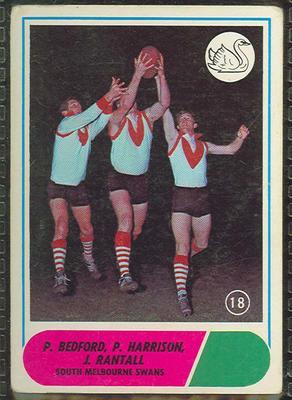 1969 Scanlen's Gum Australian Football, South Melbourne FC trade card