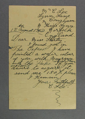 Letter from C Lee to Shirley Strickland, 18 Aug 1948