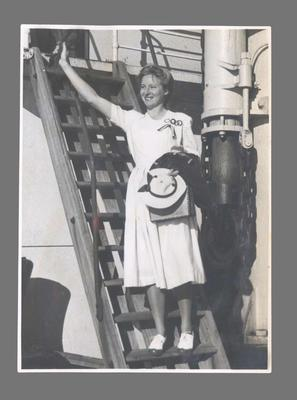 Photograph of Shirley Strickland on boat, 1948 Olympic Games