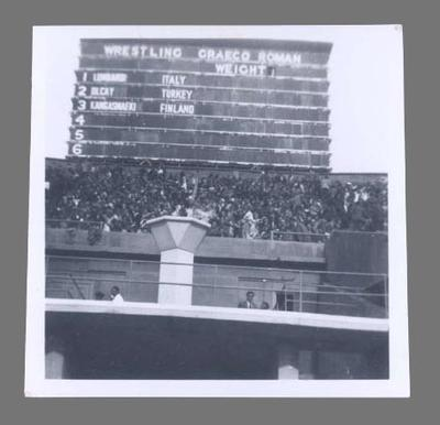 Photograph of wrestling scoreboard, 1948 Olympic Games