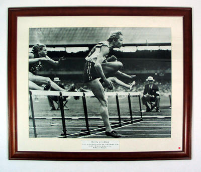Reproduction photograph - Shirley Strickland, women's 80 mtr hurdle 1956 Melbourne Olympic Games