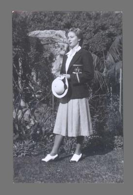 Photograph of Shirley Strickland modelling Olympic Games uniform, 1948