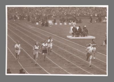 Photograph of Fanny Blankers-Koen winning a race, 1948 Olympic Games