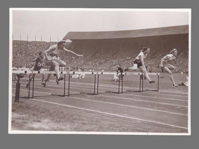 Photograph of Shirley Strickland during a hurdles event, 1948 Olympic Games