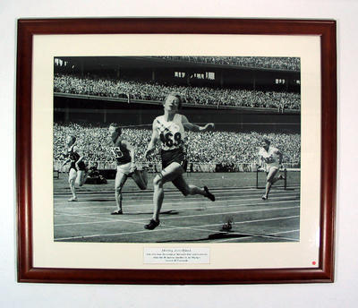 Reproduction photograph - Shirley Strickland winning women's 80 mtr hurdle 1956 Melbourne Olympic Games