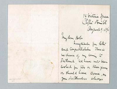 Letter from W G Grace to a friend, dated 9 August 1896