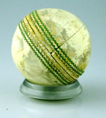 Used white leather cricket ball - Australia -v- Pakistan 3 February 1990